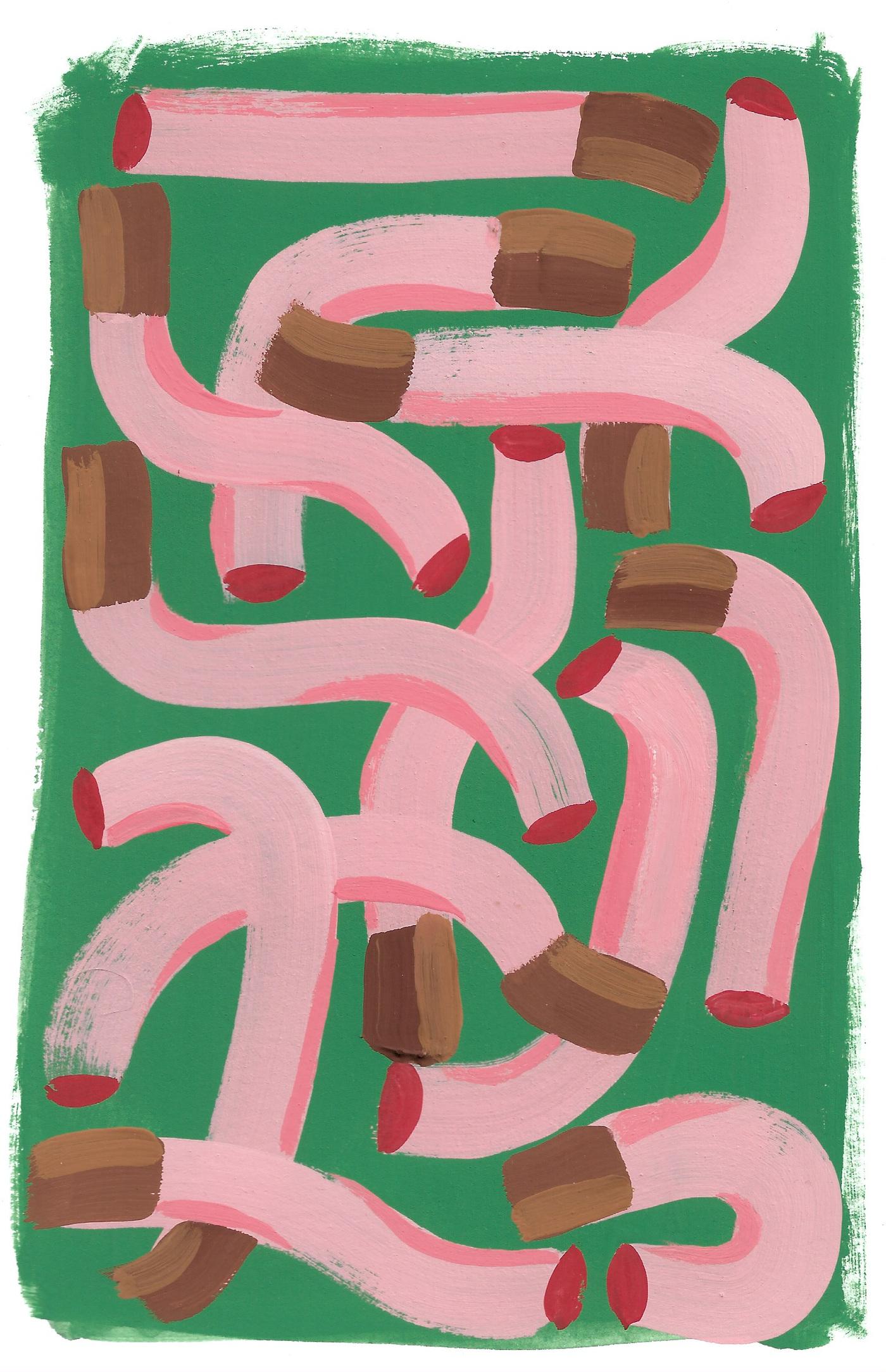 Anna Choutova - Cigarette Worms 1 Gouache on Paper21 cm x 15 cm