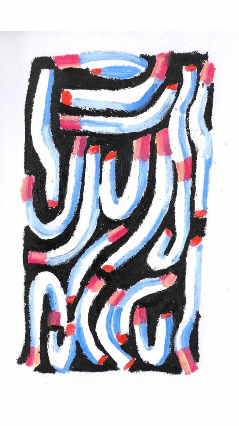 Anna Choutova - Cigarette Snakes 3 Oil Pastel on Paper21 cm x 15 cm