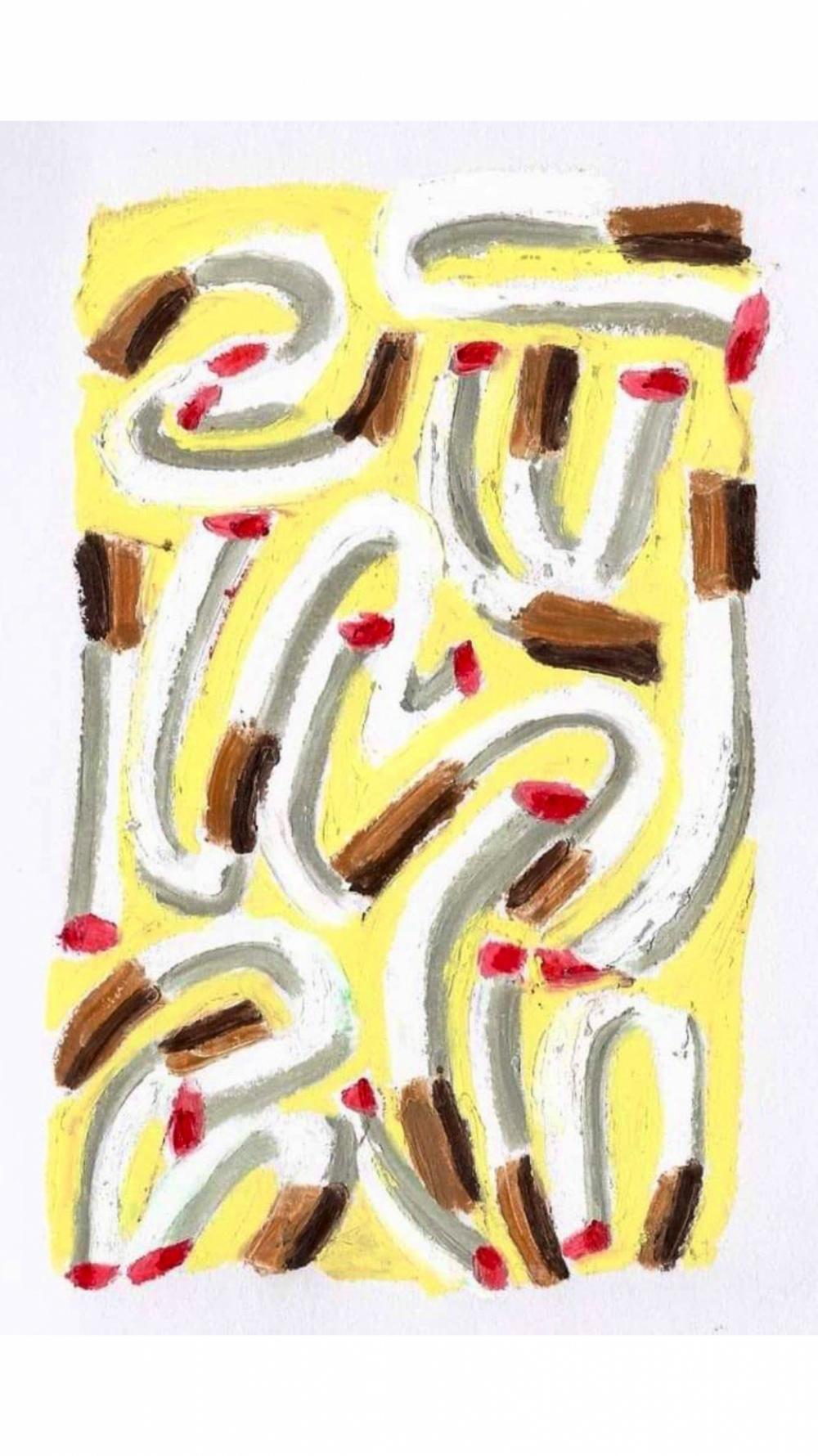 Anna Choutova - Cigarette Snakes 1 Oil Pastel on Paper21 cm x 15 cm