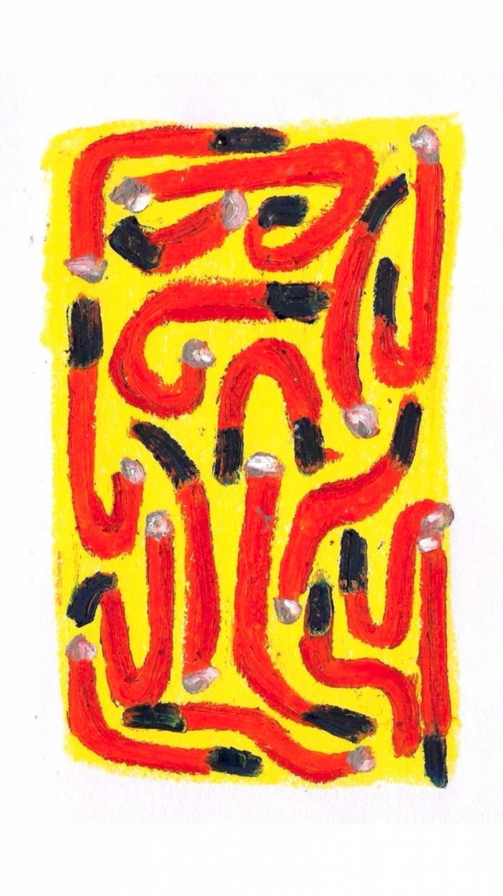 Anna Choutova - Cigarette Snakes 10 Oil Pastel on Paper21 cm x 15 cm