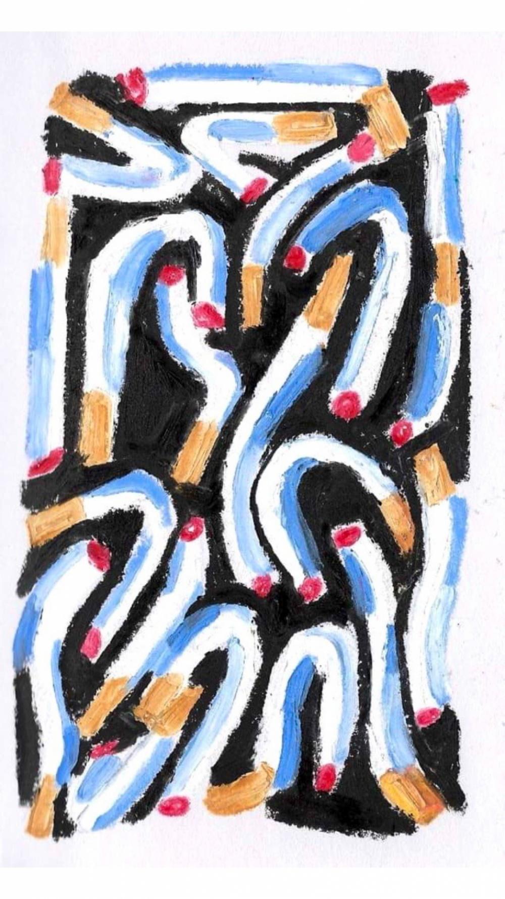 Anna Choutova - Cigarette Snakes 5 Oil Pastel on Paper21 cm x 15 cm
