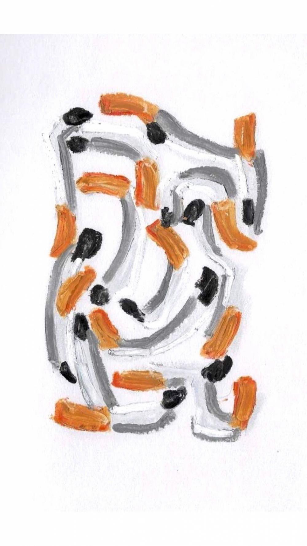 Anna Choutova - Cigarette Snakes 19 Oil Pastel on Paper21 cm x 15 cm