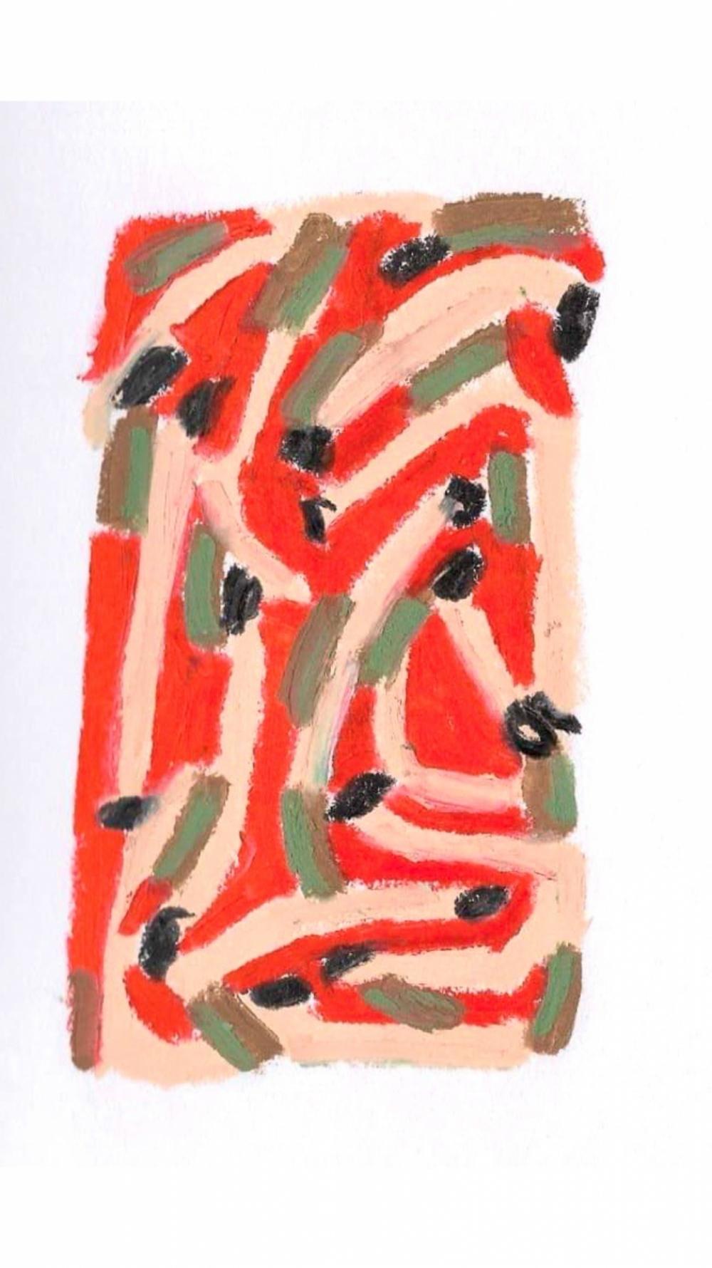 Anna Choutova - Cigarette Snakes 14 Oil Pastel on Paper21 cm x 15 cm