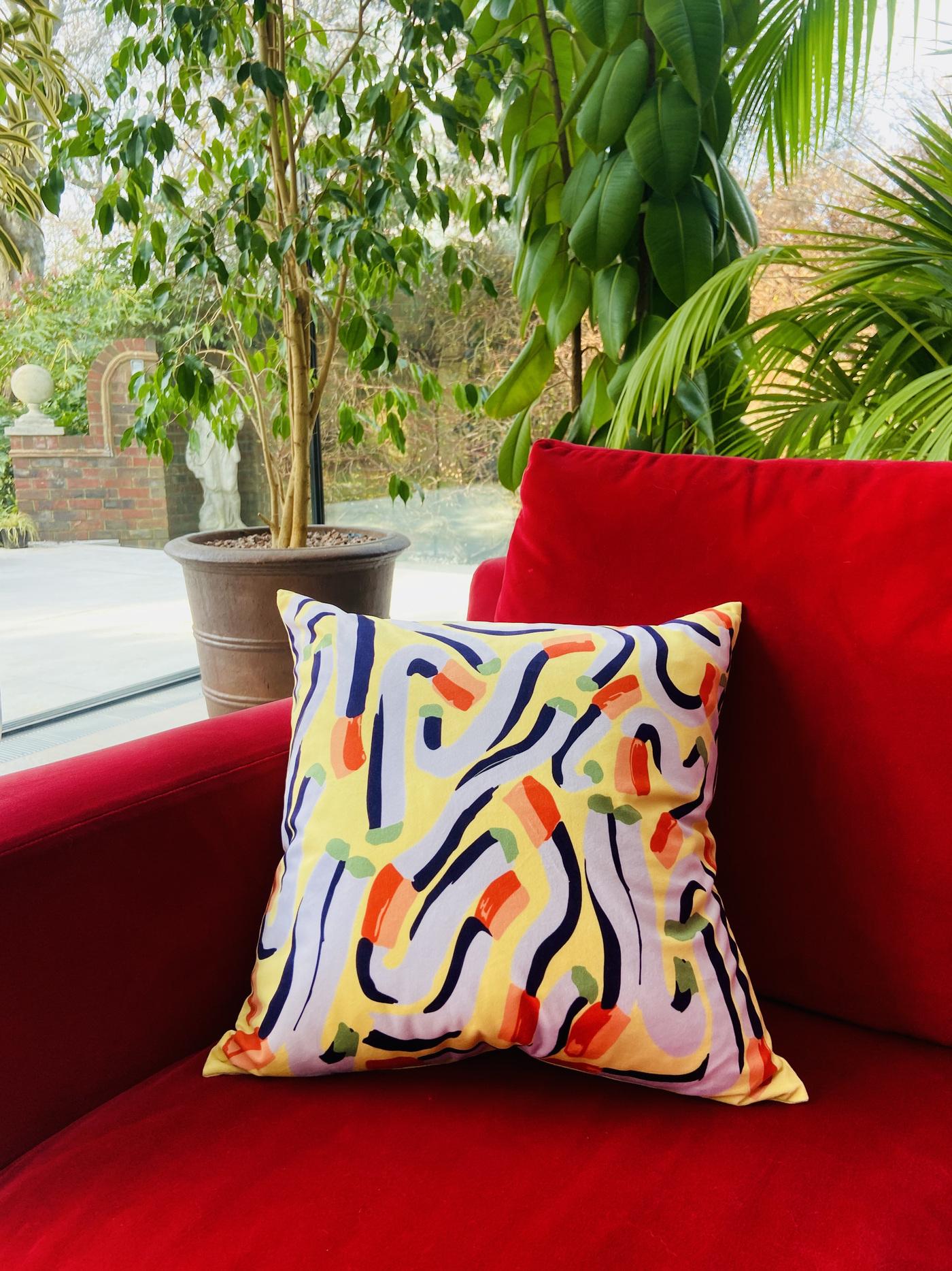 Anna Choutova - Yellow Cigarette Cushion Cover Velvet Cover Only45 cm x 45 cm