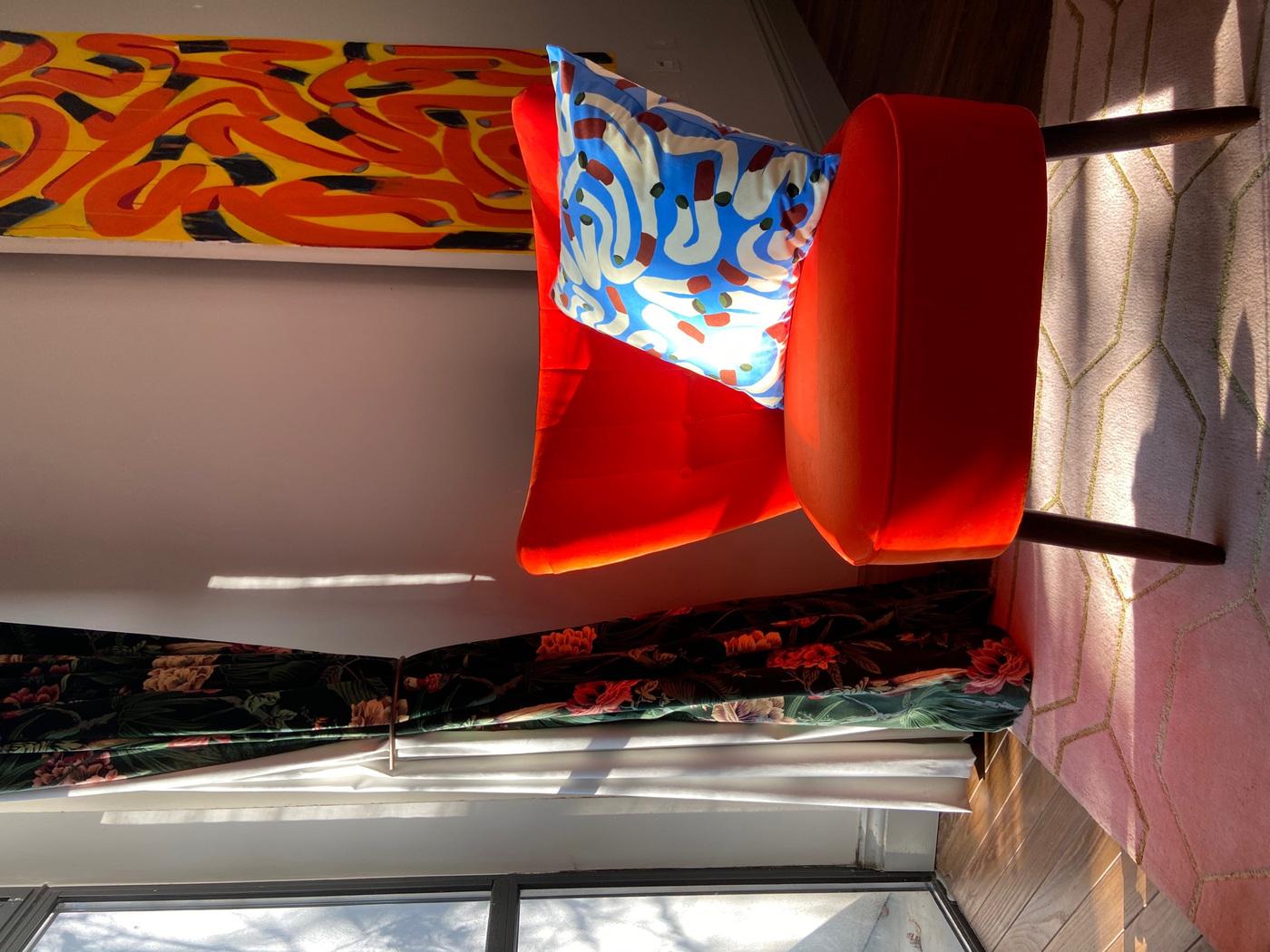 Anna Choutova - Blue Cigarette Cushion Velvet Cover & Goose Down Pillow45 cm x 45 cm