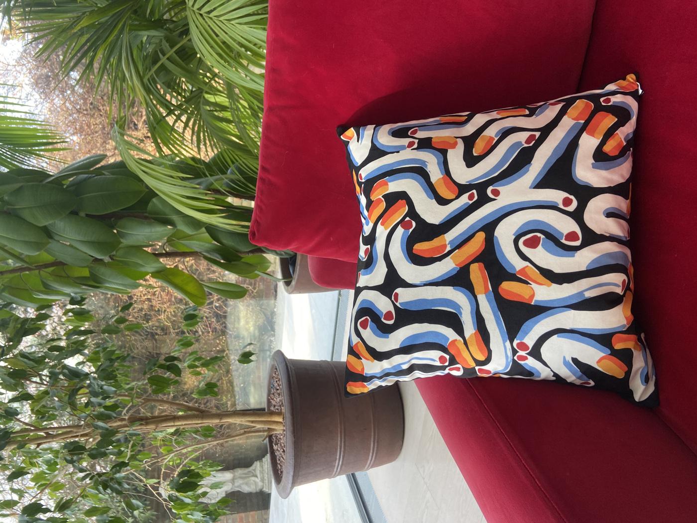 Anna Choutova - Black Cigarette Cushion Cover Velvet Cover Only45 cm x 45 cm