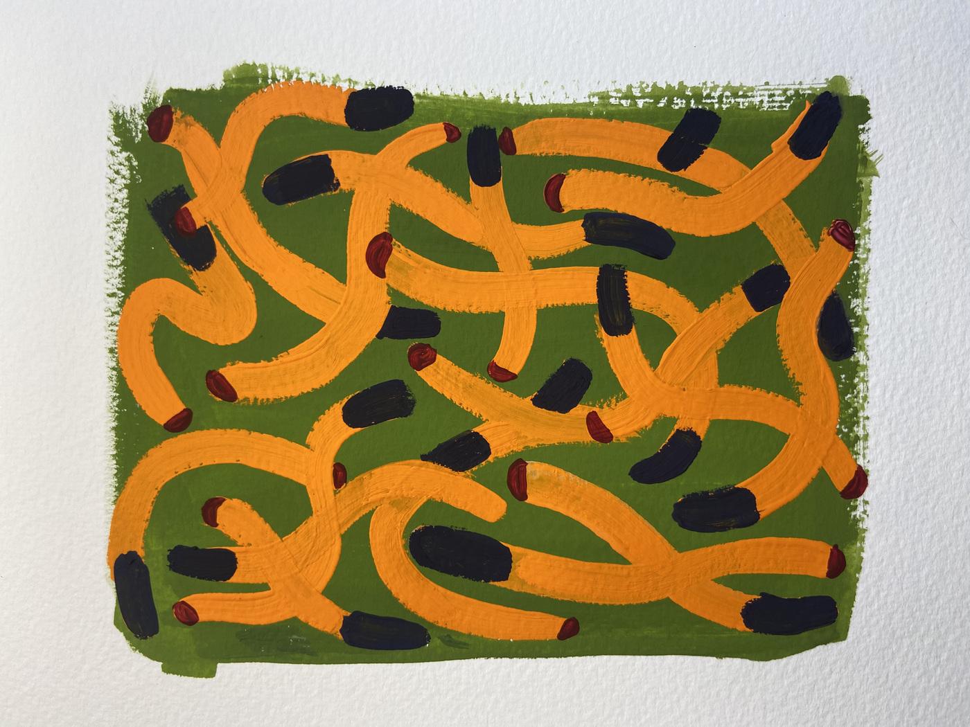 Anna Choutova - Cigarette Fever Dream 3 Goache on Paper21 cm x 15 cm
