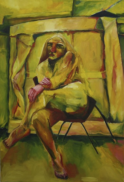 Anna Choutova - Yellow Sitter Oil on Canvas112 cm x 91.6 cm •