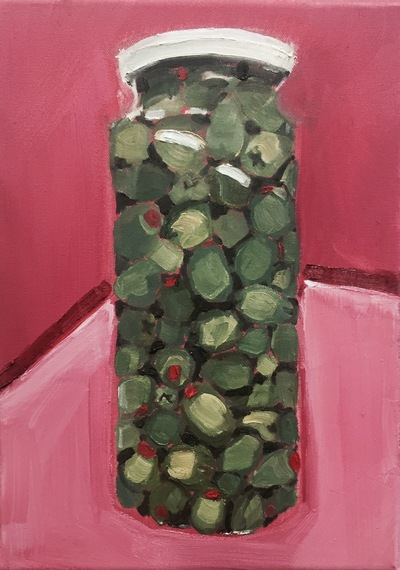 Anna Choutova - Jar of Olives Oil on Canvas30 cm x 20 cm •