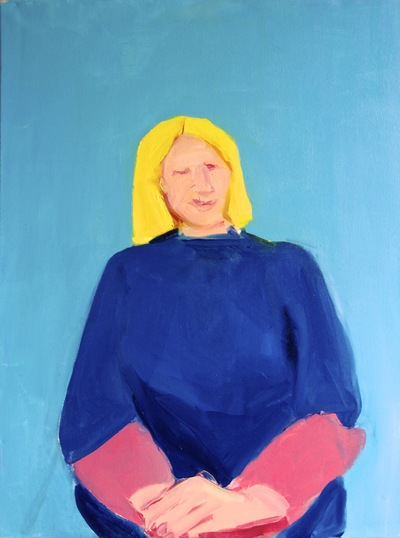 Anna Choutova - Self Portrait in Irems Jumper Oil on Canvas122 cm x 92 cm