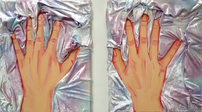 Anna Choutova - Hands Touching Hands Crushed Velvet, Oil on Canvaseach painting 50 cm x 40 cm