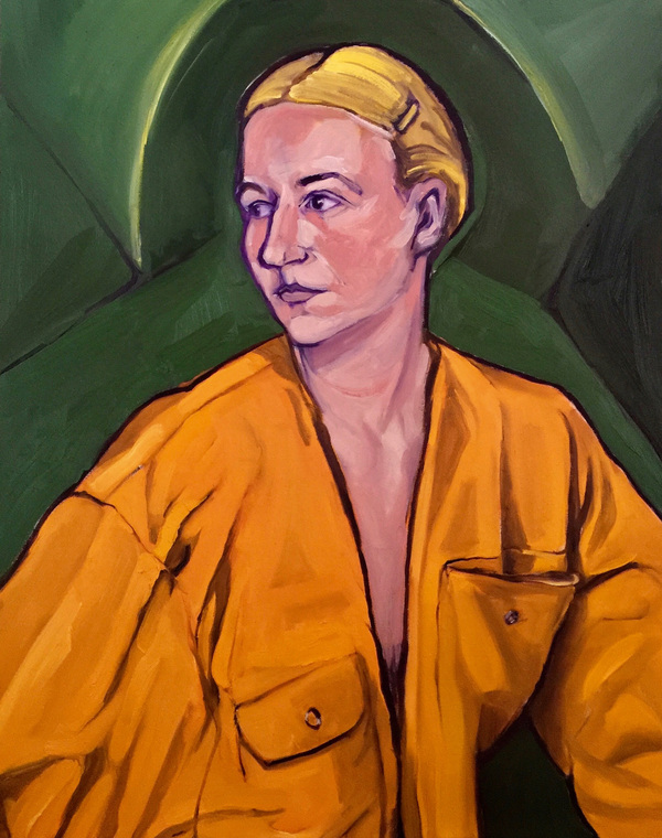 Anna Choutova - Me in Overalls Oil on Canvas100 cm x 80 cm