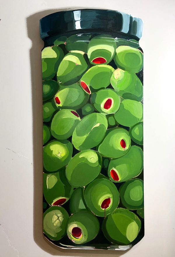 Anna Choutova - Olive You Oil on Wood 180 cm x 85 cm
