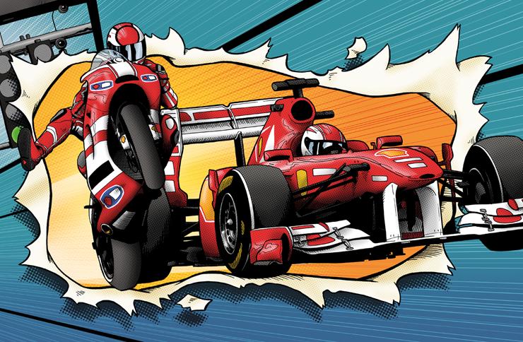 Jesus Delgado Illustration - Ilustraciones para los seguimientos de los Grandes Premios de Marlboro