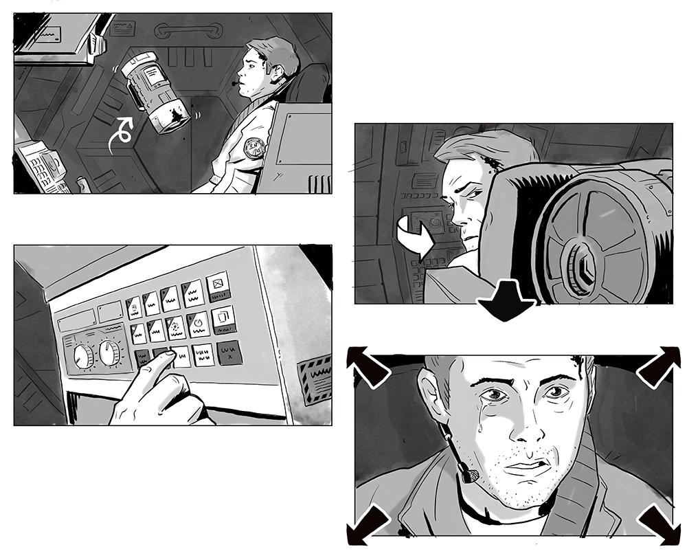 Jesus Delgado Illustration - Storyboard para la película Black Box, de Newfound Planet Films