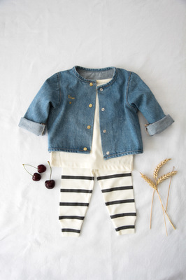 Mathilde Cabanas - Bisou embroidered shirt and vest + stripped legging with Poudre Organic