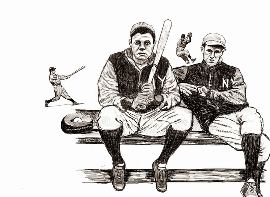 charlesbuissonpeintures - Babe Ruth and friends (pour la marque Crime LR)