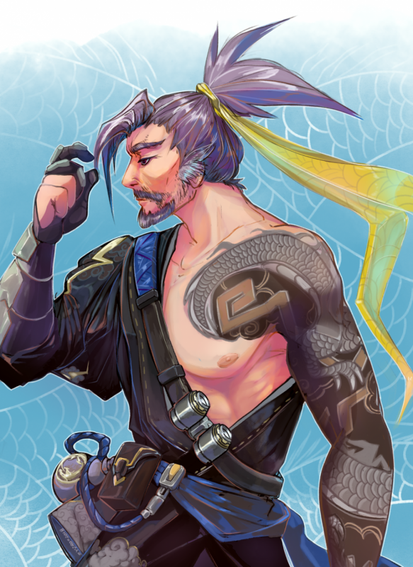 KatHayahshia - Old Man Hanzo illustration (2018)