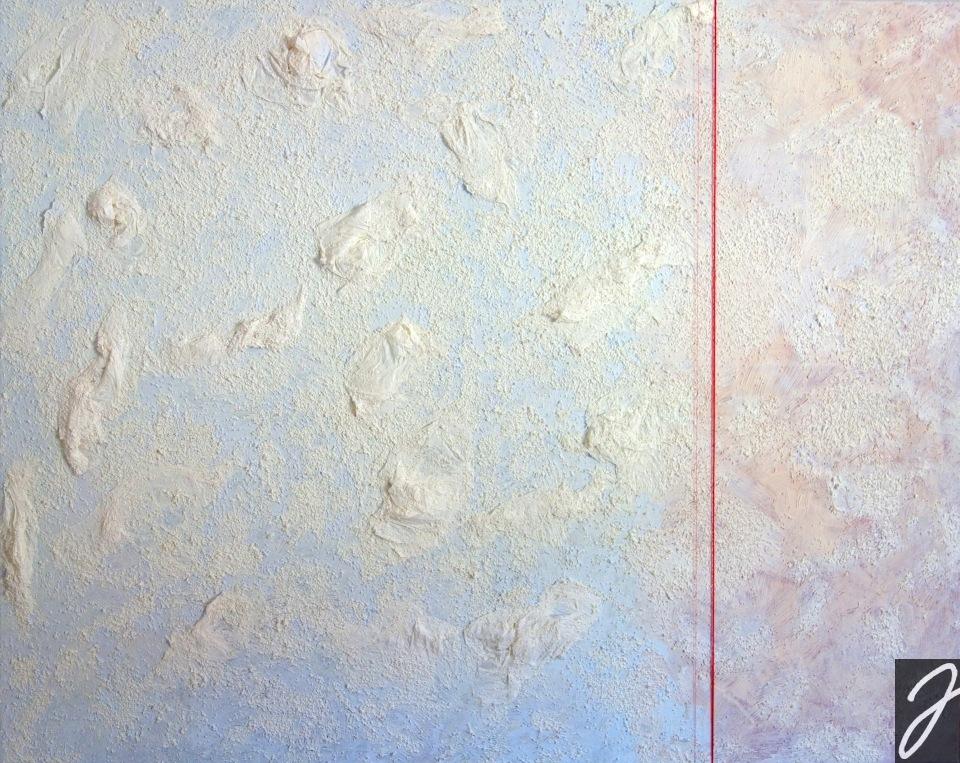 Julia Aumüller - Red Thread - Strukturfarbe auf Leinwand, roter Faden 100x80