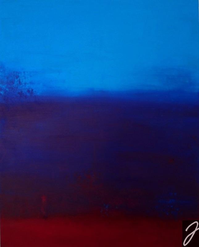 Julia Aumüller - Mondrot - Acryl auf Leinwand, 80x100