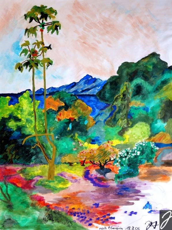 Julia Aumüller - Paradis vivant nach Gauguin - Wasserfarbe auf Papier