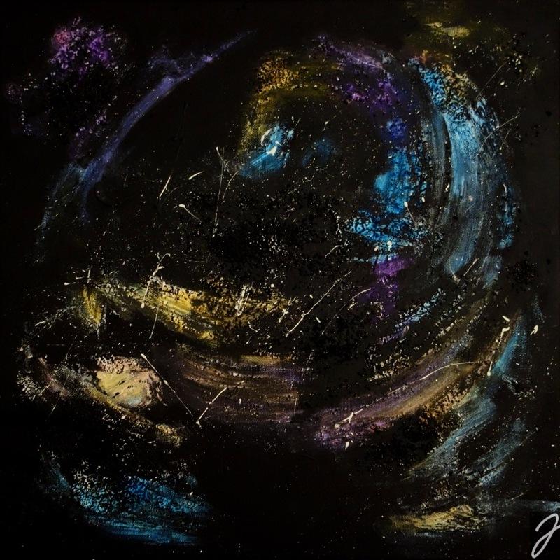 Julia Aumüller - Universe 1 - Acryl, Strukturfarbe und Wasserfarbe auf Leinwand, 40x40 - Sold -