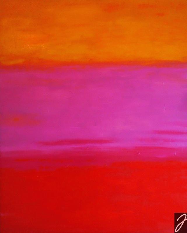 Julia Aumüller - Sonnenrot - Acryl auf Leinwand, 80x100