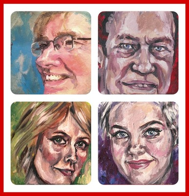The Etceterist - A set of four small acrylic family portraits.