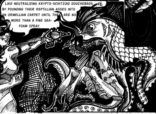 The Etceterist - A panel from the comic (Midnight in Madagascar) featuring a sapient reptilian creature.