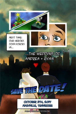 The Etceterist - A save the date which needed to be comic-book themed.