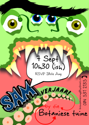 The Etceterist - Invitation for a 2nd birthday party which was monster themed in the most adorable way possible.