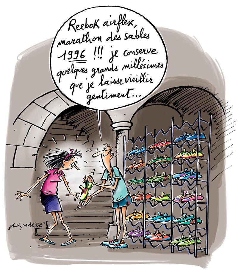 christophe besse - Le coureur à pied est une fashionista, un chaussure addict, il cajole ses Asics comme dautres leurs Louboutin... Ce dessin illustre la rubrique dAnne Thoumieux dans Runners World.