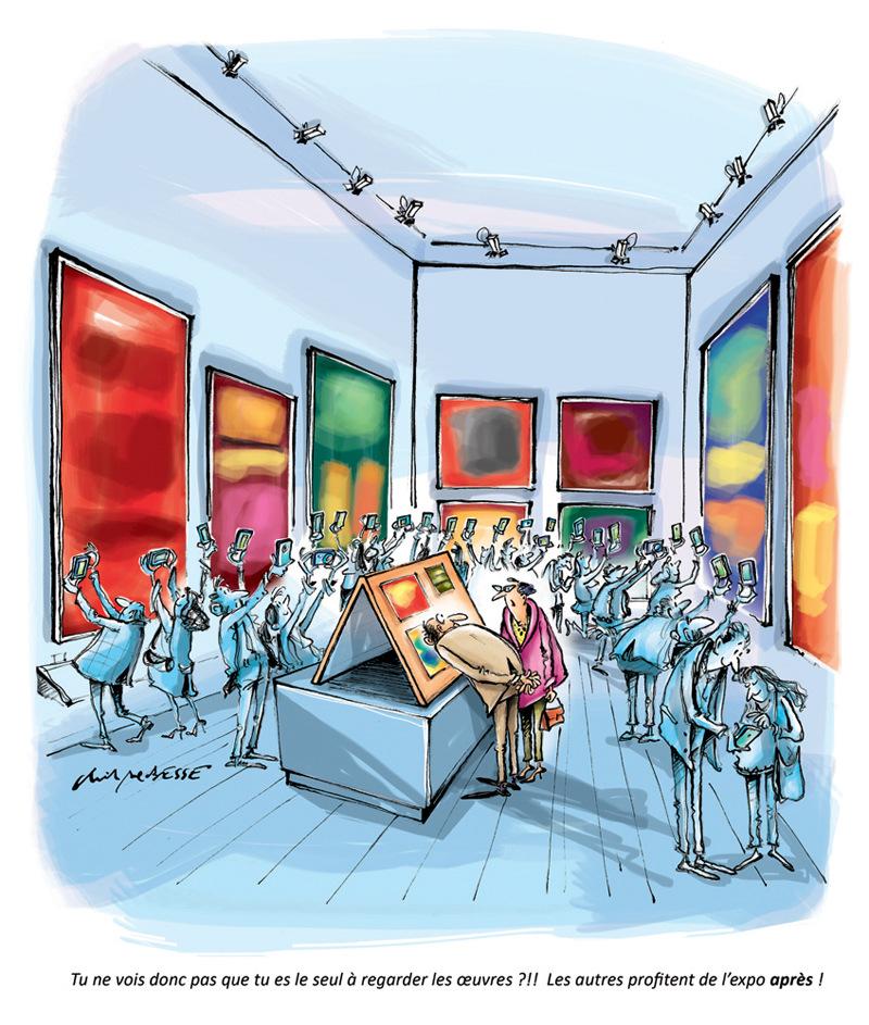 christophe besse - Petit phénomène observé de plus en plus souvent en visitant des expos ou en allant au concert... Ce dessin a été réalisé pour la page Du côté de chez nous dans Notre Temps.