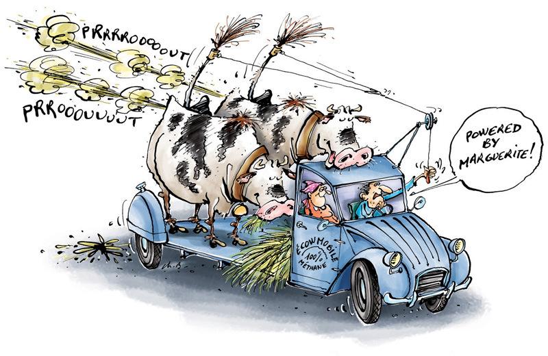 christophe besse - C'est en rotant et non en pétant que les vaches produisent du méthane en quantité industrielle… mais ça ne m'arrangeait pas pour mon dessin ! Idée publiée dans Néoplanète venant enrichir un papier sur les nouveaux moyens de transport.
