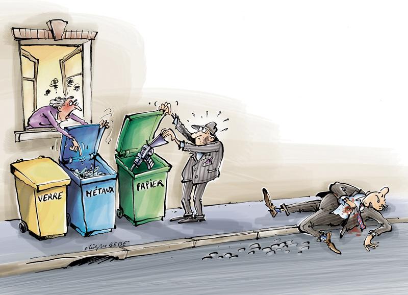 christophe besse - Les mémés écolo de Chicago ( ou de Marseille ) réagissent peut-être de cette manière lorsquelles prennent sur le fait un irresponsable qui ne trie pas ses déchets... Dessin publié dans Néoplanète.