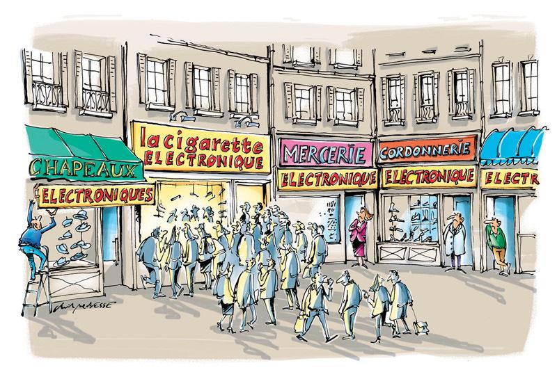 christophe besse - Pour ma rubrique humeur dans Néoplanète, javais envie de parler de la cigarette électronique dont les boutiques fleurissent au coeur des villes. Il semblerait que ça donne des idées à certains petits commerces en perte de vitesse...