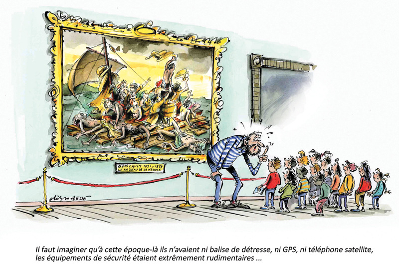 christophe besse - Un dessin qui a déjà quelques années, publié dans l'école aujourd'hui et repris dans mon livre « l'école 100% humour » paru en 2012 au Cherche Midi. Je me suis bien amusé à imiter le tableau de Géricault, je crois que je suis passé à côté d'une belle carrière de faussaire…
