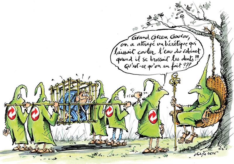 christophe besse - Je voulais dénoncer lattitude parfois sectaire de certains courants écologistes qui nous culpabilisent et nous montrent du doigt sans toujours proposer des solutions adaptées. Pour autant cest à notre portée déconomiser leau en se brossant les dents, il suffit de modifier un peu ses habitudes. Dessin paru dans Néoplanète.