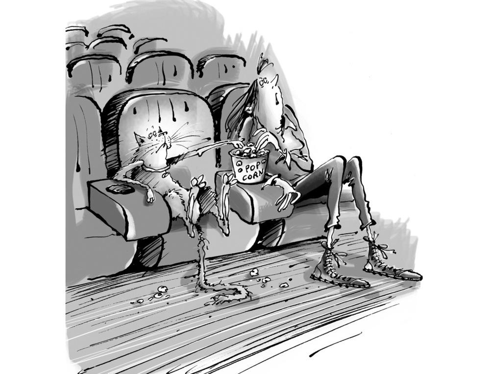 christophe besse - Illustration parue dans « Mon chat sur le divan » d'Anne-Claire Gagnon, éditions Larousse 2014 . J'ai adoré concevoir la vingtaine de dessins qui sont reproduits dans ce petit bouquin. À la manière de séances sur le divan d'un psy, les tocs et les troubles de comportement d'un chat sont racontés directement par l'animal, on trouve les préconisations du vétérinaire en face. Ici le texte parle des chats qui ne pensent qu'à bouffer …