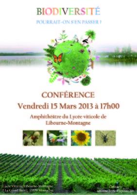 JD - Biodiversité, pourrait-on sen passer ? Conférence lycée viticole Montagne / Saint-Emilion