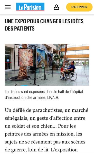 IXIA Artiste - Le Parisien Edition du 1er novembre 2019, Hauts-de-Seine, laccrochage de la toile dIXIA Au service de leur vie illustre ce très bel article notamment consacré à la place des femmes chez les Peintres de lArmée et de la Marine.