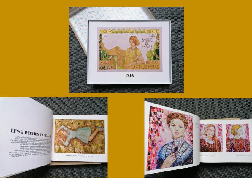 IXIA Artiste - Ixia, le nouveau visage de la peinture onirique - livre dart exceptionnel de 80 pages présentant 10 ans de séries de peintures : les 7 péchés capitaux, étoiles des années 50, petites reines des saisons, les dames à la licorne, jeu de dames, Les jeunes beautés de Shanghai, Alice au pays des merveilles et De lautre côté du miroir.