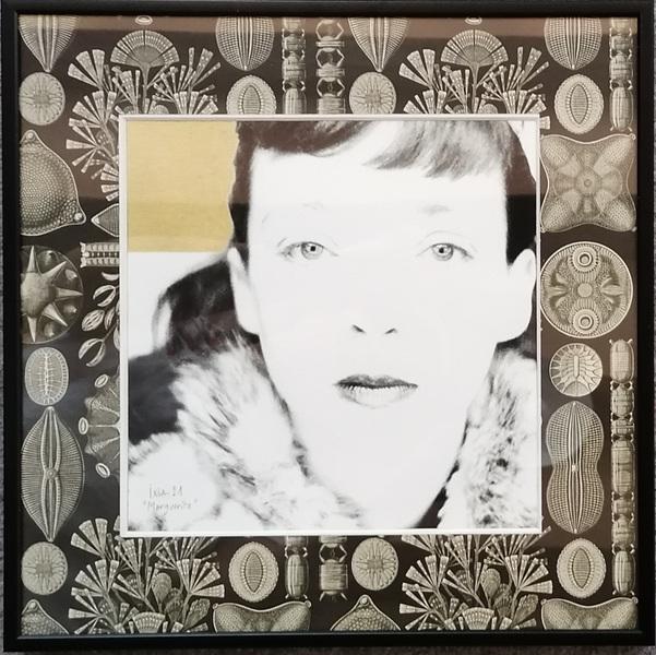 IXIA Artiste - Marguerite 30 x 30 cm Technique mixte (photo, gouache or et papier Pepin Press) Cadre alu noir