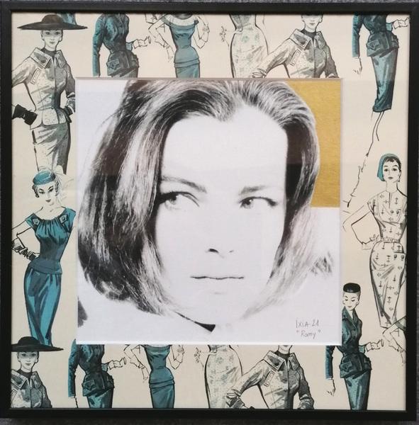 IXIA Artiste - Romy 30 x 30 cm Technique mixte (photo, gouache or et papier Pepin Press) Cadre alu noir