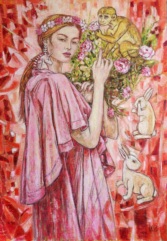 IXIA Artiste - Les Dames à la licorne : lodorat 65 x 92 cm HST