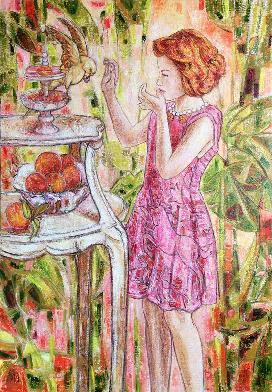 IXIA Artiste - Les Dames à la licorne : le goût 65 x 92 cm HST
