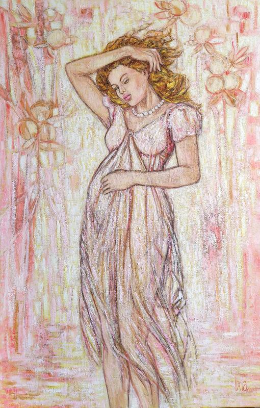 IXIA Artiste - Les Dames à la licorne : le 6e sens 65 x 100 cm HST