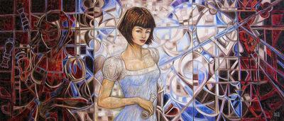 IXIA Artiste - Alice, de lautre côté de léchiquier Peinture à lhuile sur toile 150 x 65 cm triptyque SOLD / VENDU NOT AVAILABLE / NON DISPONIBLE Collection particulière, Las Vegas, USA 2011