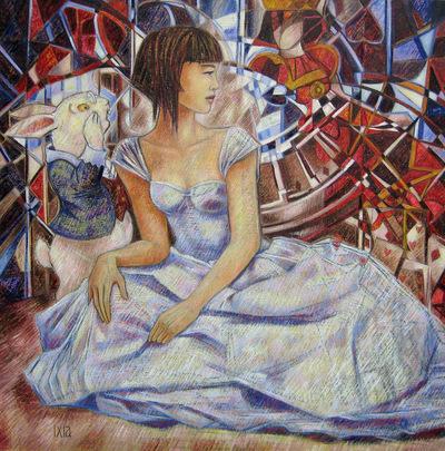 IXIA Artiste - Alice, le palais des reflets Peinture à lhuile sur toile 100 x 100 cm SOLD / VENDU NOT AVAILABLE / NON DISPONIBLE Collection particulière, Belgique 2012