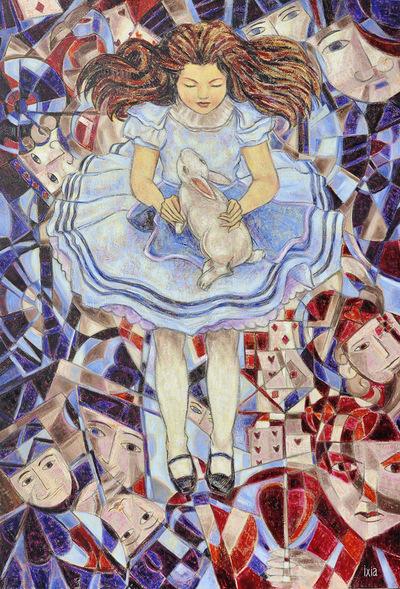 IXIA Artiste - Alice, au coeur du jeu Peinture à lhuile sur toile 89 x 130 cm VENDU / SOLD NON DISPONIBLE A LA VENTE / NOT AVAILABLE Collection particulière, Singapour 2011